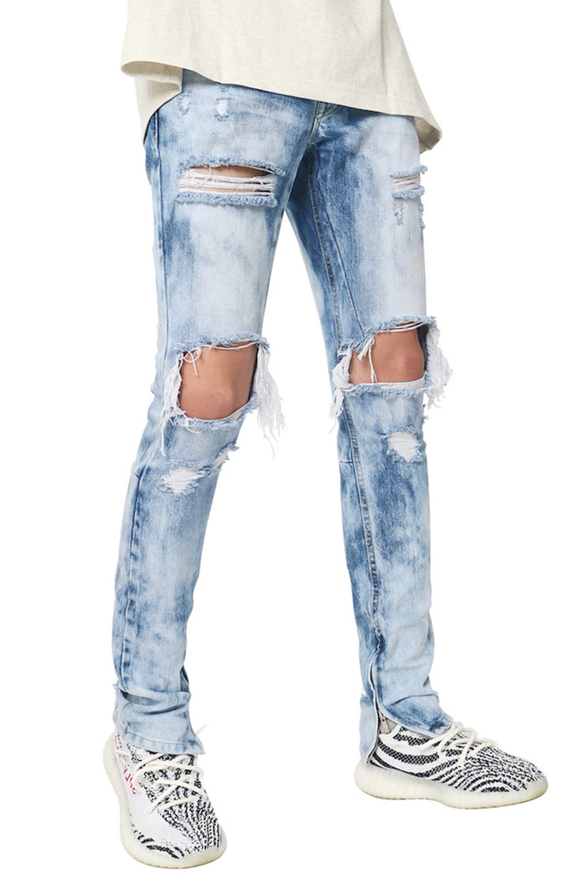 BRUSHED ZIPPER DENIM JEANS