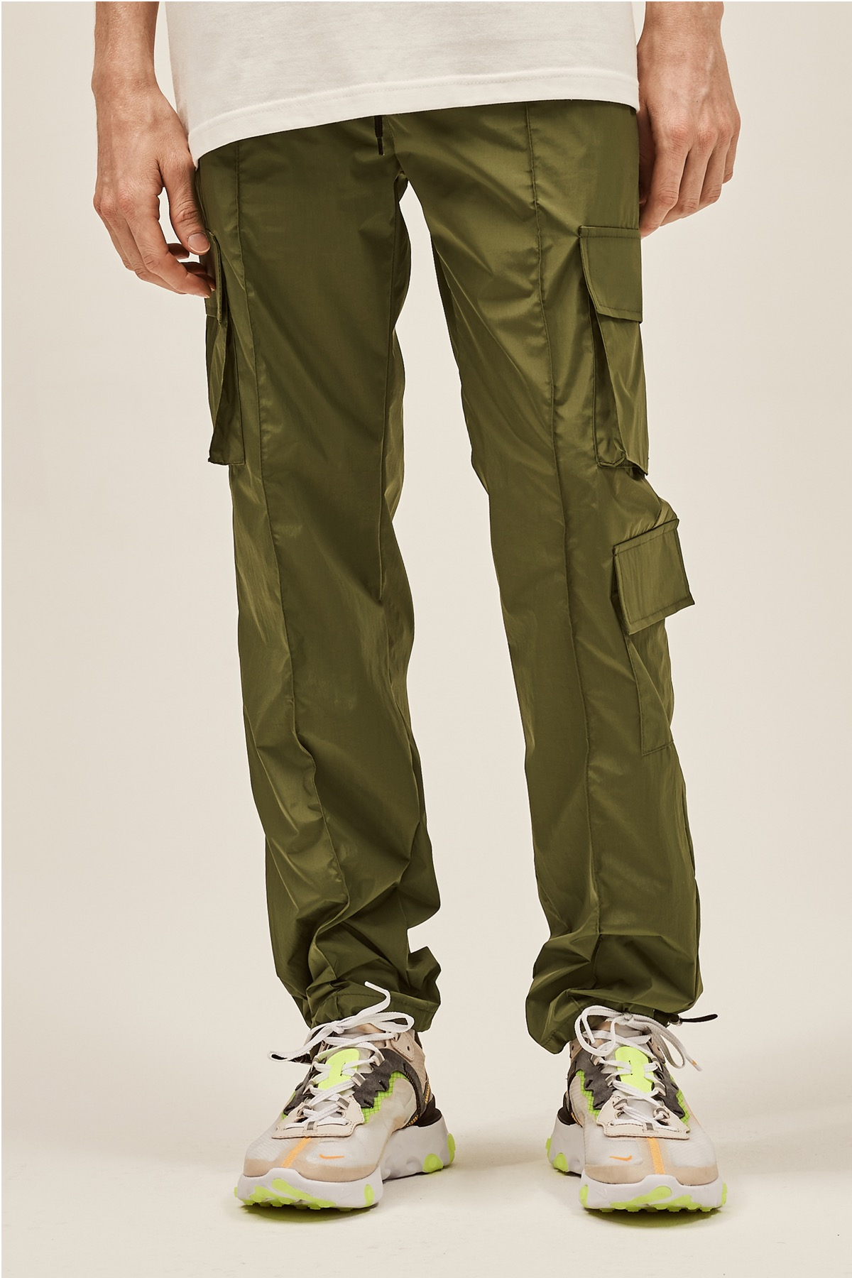 KHAKI NYLON METAL CARGO STRING PANTS