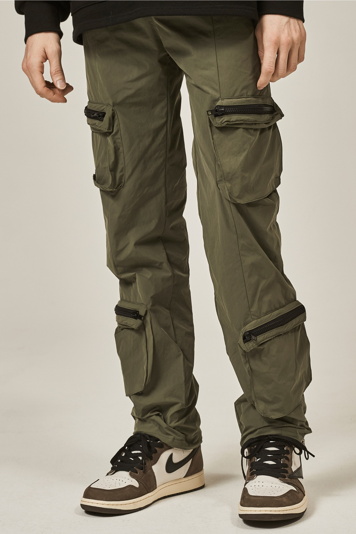 KHAKI 4 POCKET CARGO STRING PANTS
